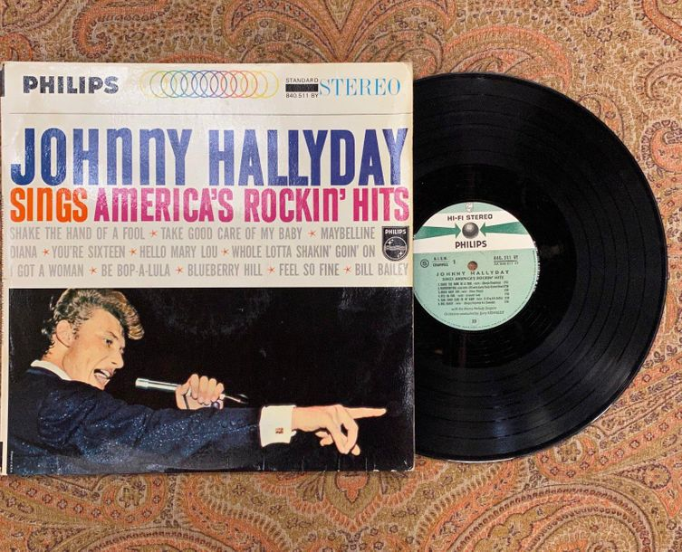 "Johnny Hallyday 1 disque 33 T Johnny Hallyday ""sings America's rockin' hits""  84…"