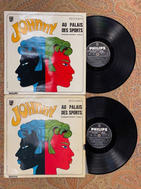 "Johnny Hallyday 2 disques 33 T Johnny Hallyday ""Au Palais des sports""  844721BY,…"