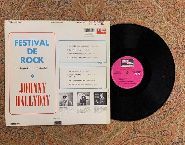 "Johnny Hallyday 1 disque 33 T Johnny Hallyday ""Festival de Rock""  CMDINT9662, Mo…"