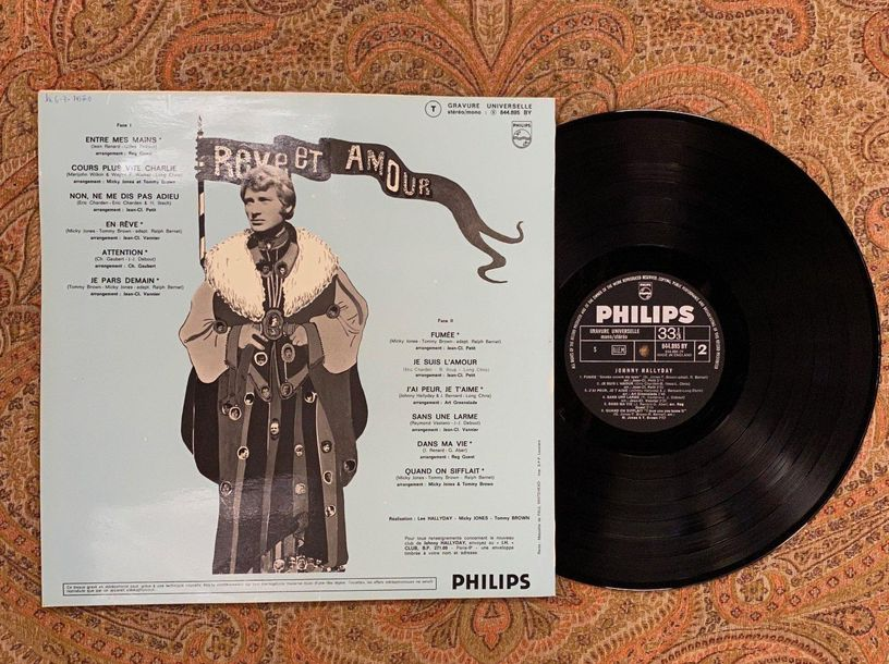 "Johnny Hallyday 1 disque 33 T Johnny Hallyday ""Rêve et amour""  844895BY, Philips…"