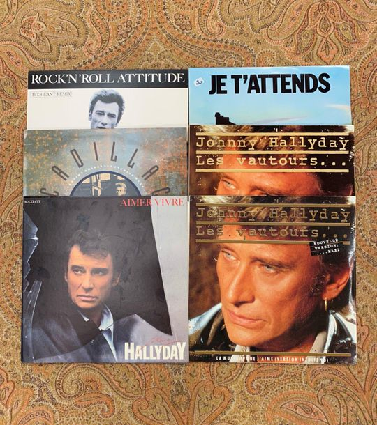 Johnny Hallyday 6 disques maxi 45 T Johnny Hallyday, dont variantes  VG+ à NM; V…
