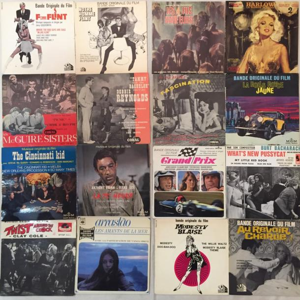 BANDES ORIGINALES DE FILMS Lot de 50 disques EP de musiques de films internationaux.…