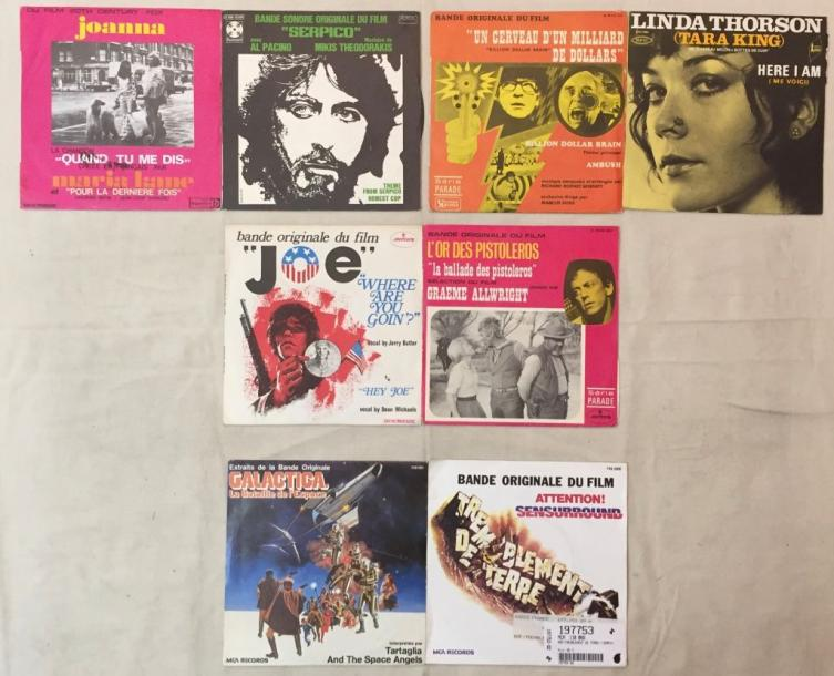 BANDES ORIGINALES DE FILMS Lot de 40 disques  45 T de musiques de films internationaux…