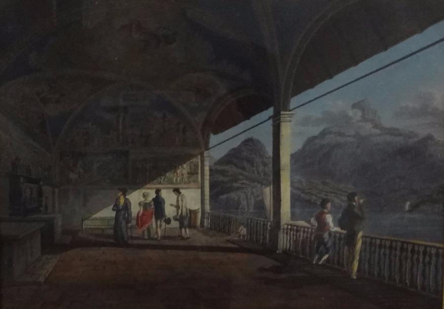 "Johann Jacob SPERLY dit l'Ancien (Bendlikon 1710 – Zurich 1841)  - ""Loggia au bord…"