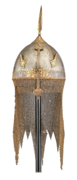 ‡ A PERSIAN HELMET (KULAH KHUD), QAJAR, FIRST HALF OF THE 19TH CENTURY with hemi…