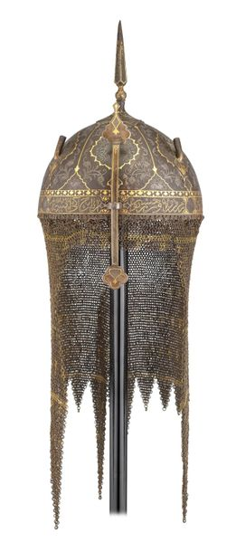 ‡ A PERSIAN HELMET (KULAH KHUD), QAJAR, MID 19TH CENTURY with hemispherical skul…