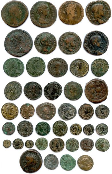 ROME et BYZANCE Lot de 43 monnaies antiques en bronze : 6 sesterces, 2 as, 10 fo…