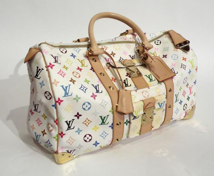 Louis VUITTON. Grand speedy, toile monogram multicolore sur fond blanc, ornements…