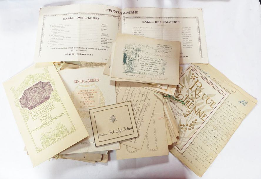 [EXPOSITION UNIVERSELLE – 1900]. Env. 70 documents. Très bel ensemble des papiers…