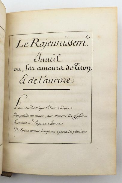 [MONCRIF (Fr. Augustin Paradis de)]. L'origine des puces. Manuscrit de 51 pages,…