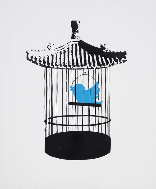 Monsieur B (né en 1988) China don't tweet 2015 Pochoir et aérosol sur toile sign…