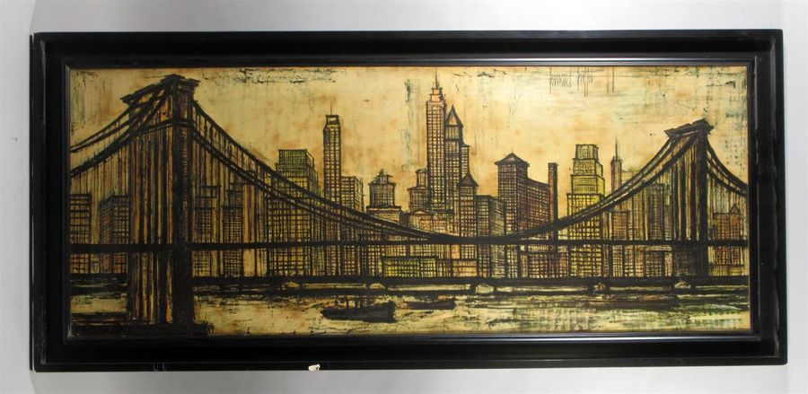 "Bernard BUFFET (1928-1999) d'après ""Le pont de Brooklyn"" Reproduction en couleur…"