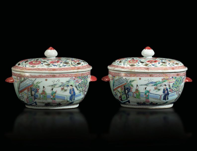 Two Pink Family tureens, China, Qing Dynasty Qianlong period (1736 1796). 14.5x2…