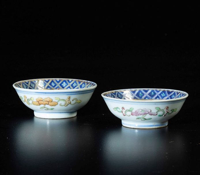 A lot of porcelains, China, Qing Dynasty Guangxu period (1875 1908). Two small b…