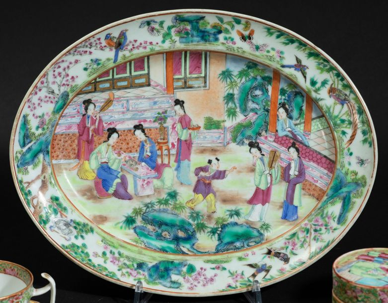 Various Pink Family porcelains, China, 1800s Two candle holders (H 20cm), a plat…