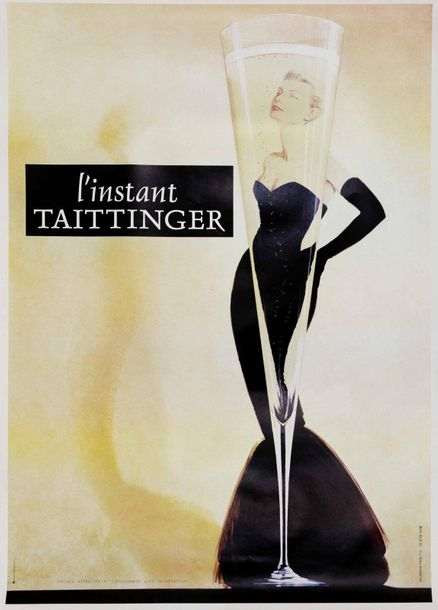 Anonimo, L'INSTANT TAITTINGER... First edition offset poster, 1990 ca. 178x120 c…