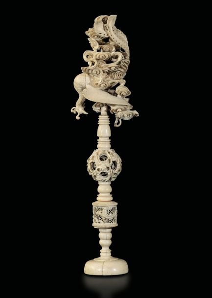An ivory puzzle ball, China, early 20th century H 42.5cm