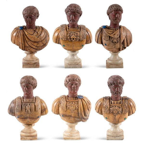 Group of polychrome marbles busts (6) Rome, 19th century max. H 19,5 cm. Depicti…