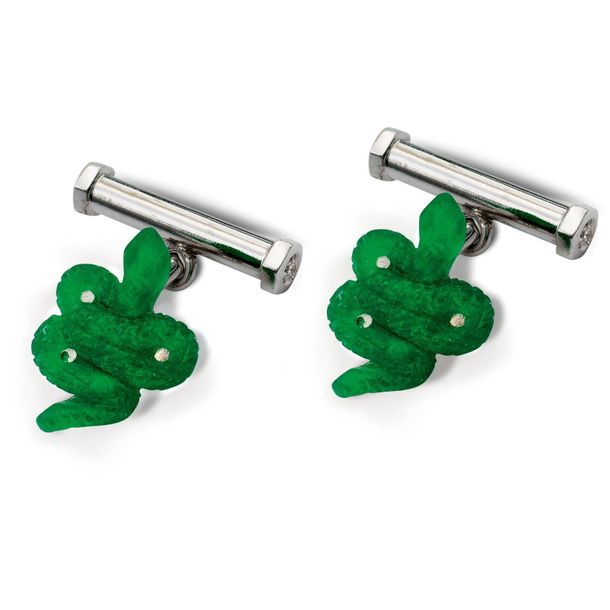 18kt white gold snake cufflinks weight 6 gr. Green glass paste and four brillian…