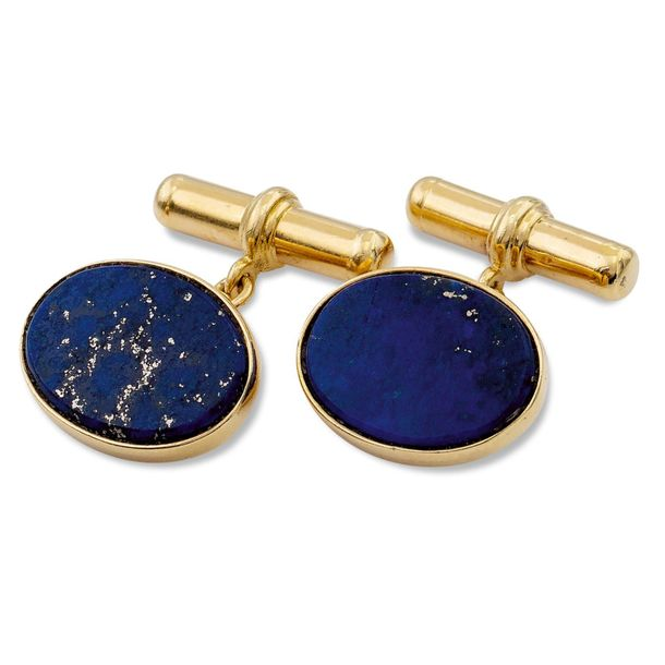 18kt gold and lapislazuli cufflinks weight 11 gr. Oval shape