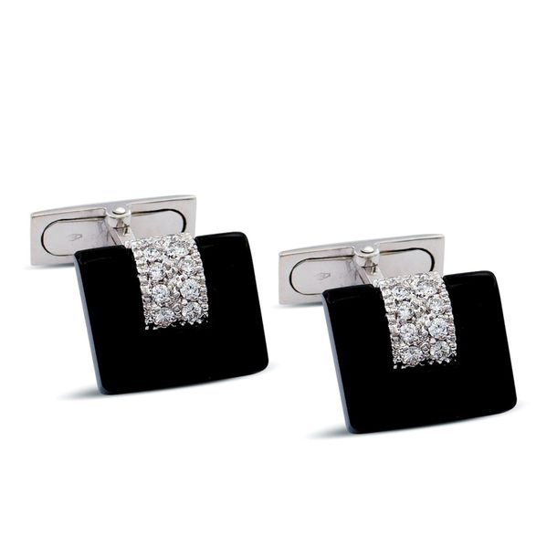 18kt white gold, onyx and diamond cufflinks weight 11,6 gr. Brilliant cut circa …