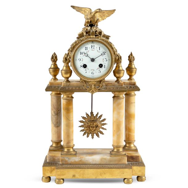 Marble and bronze table mantel clock France, late 19th century 43x26x10 cm. Yell…
