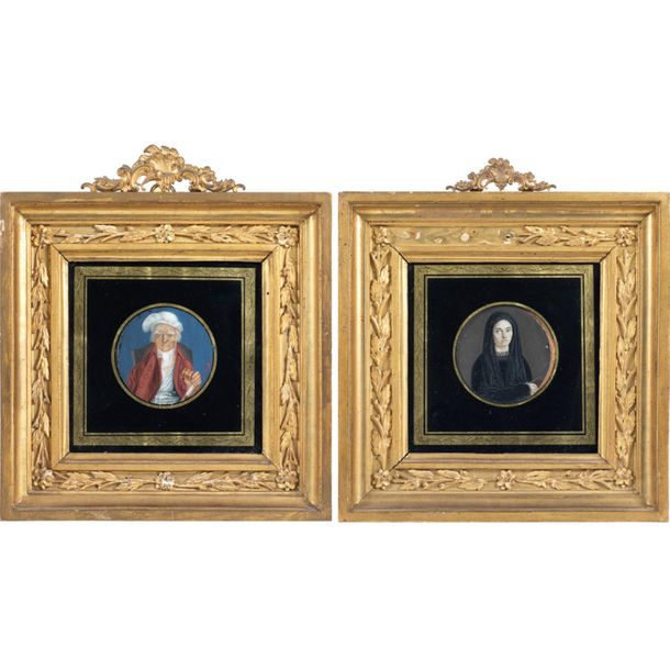 Pair of miniatures Italy, 18th 19th century d. 6 cm. Depicting a portrait of an …