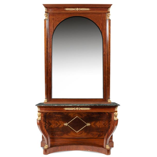 Impero style console with mirror France, 19th 20th century 270x140x50 cm mahogan…