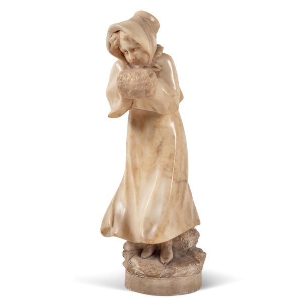 Italian sculpture 19th century h. 37 cm. Alabaster sculpture depicting a young p…