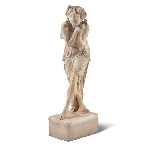 Affortunato Gory Italy, 1895 1925 54x23x14 cm. Alabaster sculpture depicting a y…