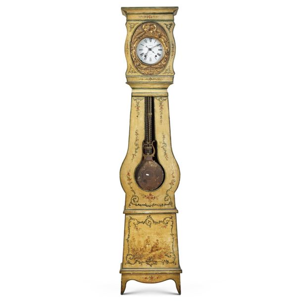 Lacquered wood grandfather clock Italy, 19th 20th century 232x49x25 cm. Painted …