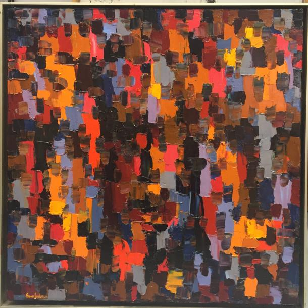 "SERAFEDINO Ebip 1952- Abstract composition "" Liaisons sacrées"" Oil on canvas signed…"