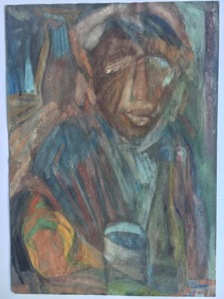 """BOUCHOUIEV SergueÏ """"That it drinks, that it eats"""" Mineral tempera on paper 1992 signed…"""