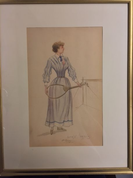"BOISSY (french) H. XIX-XX ""Lawn Tennis"" Lot of two watercolors tiled and signed lower…"