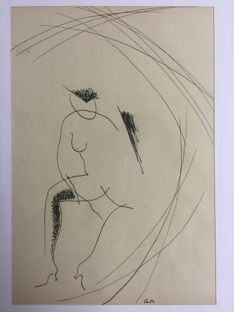 ANNENKOV Georges 1889-1974 China ink drawing monogrammed lower right 32 x 22 cm
