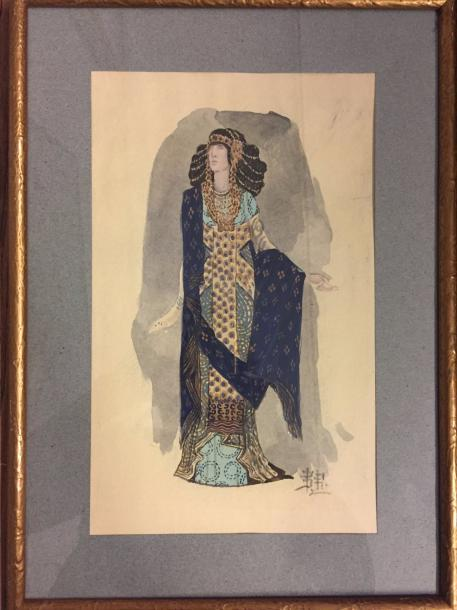 """VLADIMIROV Ivan Alekseevic, 1869-1947 """"Theater costume"""" Watercolor on paper signed…"""