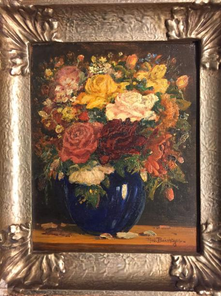 "BÜCHTGER Robert, 1862-1951 ""Flowers vase"" Oil on panel signed lower right 31,5 x…"