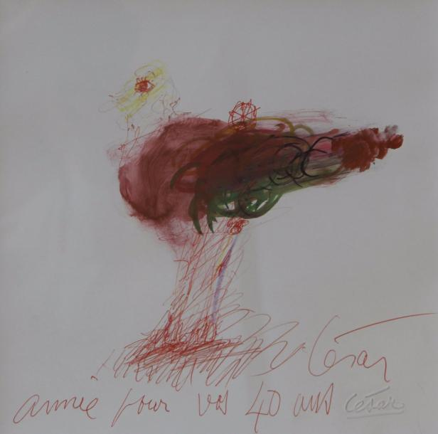 CESAR , 1921-1998 Watercolor and ink pencil on paper dedicaced and signed in red…