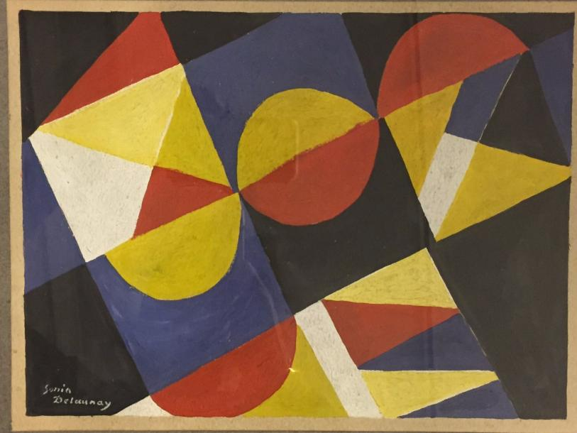 """DELAUNAY (attributed) Sonia, 1885-1979 """"Abstraction"""" Gouache on paper signed lower…"""