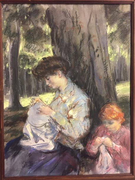 ISRAELS Isaac Lazarus , 1865-1934 Pastel on paper signed lower left 40 x 30 cm