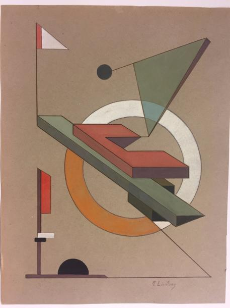 LISSITZKY El, 1890-1941 Watercolor on paper signed lower right 31 x 24 cm