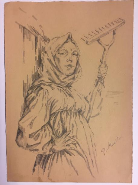 MALJAVIN Filip Andreevic , 1869-1940 Pencil on paper signed lower right 31 x 22 …