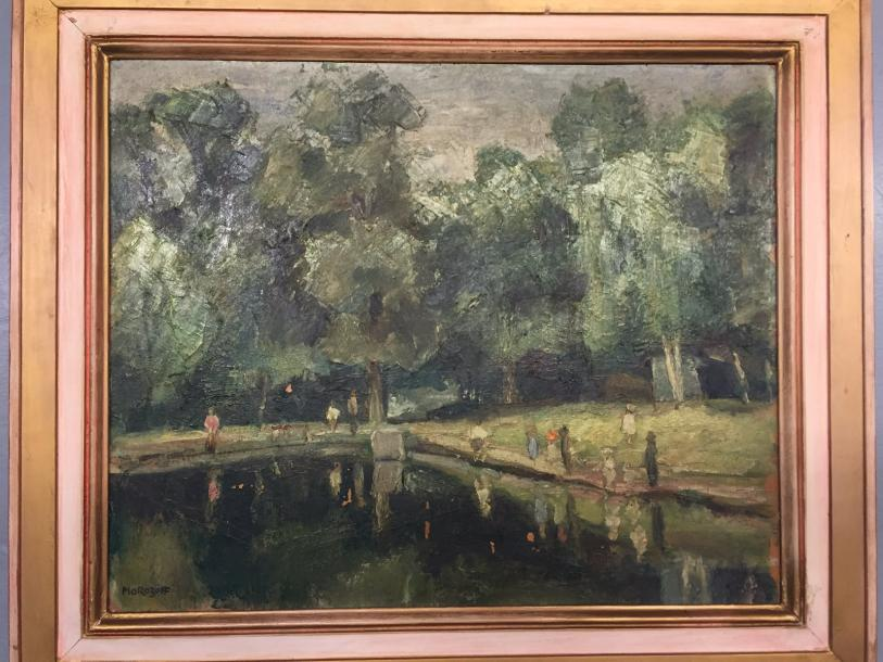 "RUSSIAN SHOOL MOROZOFF, Landscape in Paris CIRCA 1930 Oil on panel signed ""Morozoff""…"