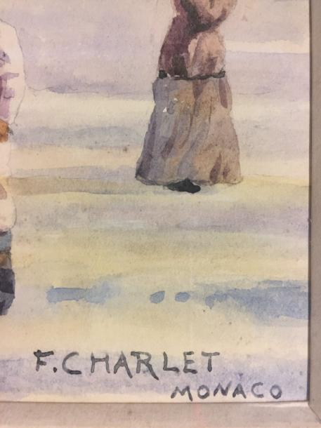 "Frantz CHARLET 1862-1928 ""Monaco"" Watercolor signed and tittled lower right 28,5…"