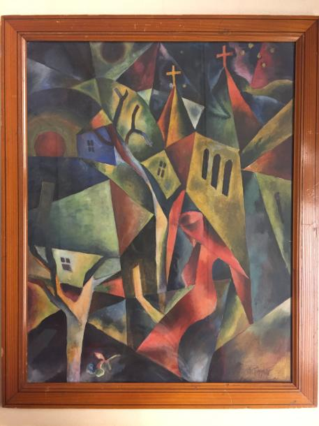 """Arnold TOPP 1887-1960 """"The town"""" 1918 Watercolor on paper signed and dated lower…"""