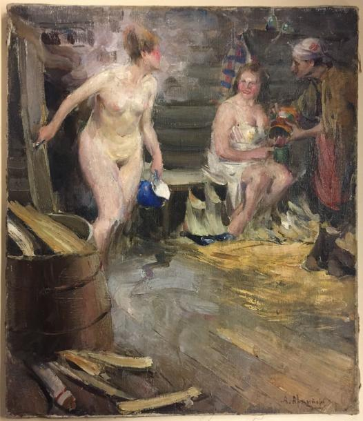 "Abram Efimovich ARKHIPOV 1862-1930 ""The rural bath"" Oil on canvas signed lower right…"