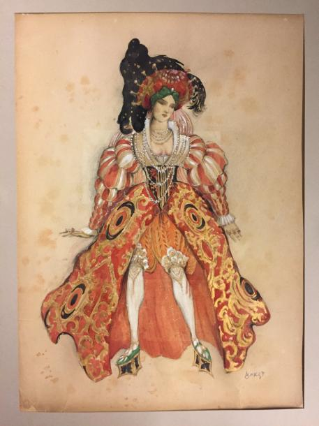 "Léon BAKST 1866-1924 ""Ms Kousnetzoff costum in the role of the wife of Putiphar-…"