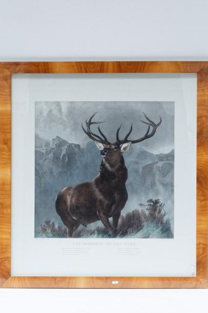 "LANDSEER Edwin Henry (1802-1873) ""The Monarch of the Glen"", lithographie rehaussée,…"