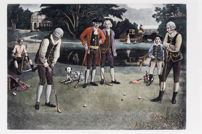 "JOSSET Lawrence (1910-1995), ""The Practice Shot"" et ""The Last Green"", paire d'estampes,…"