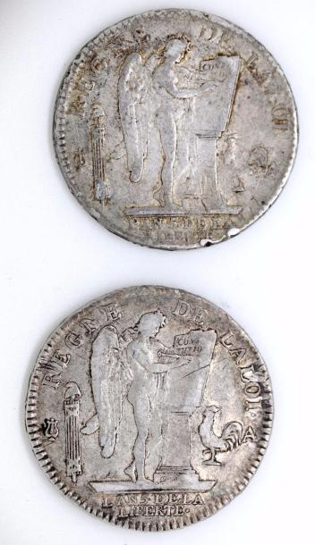Louis XVI (1774-1793). Lot de deux écus constitutionnels, 1793, Paris. TTB et T…